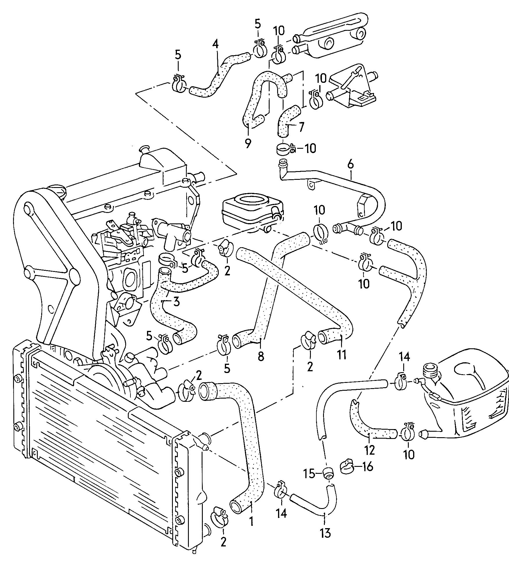 volkswagen quantum coolant hoses and water hoses pipes