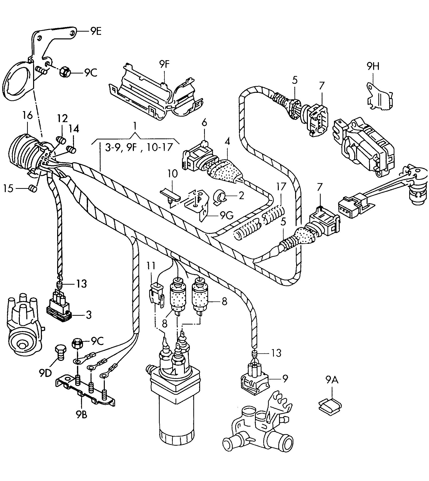 1997 volkswagen golf harness for engine single parts