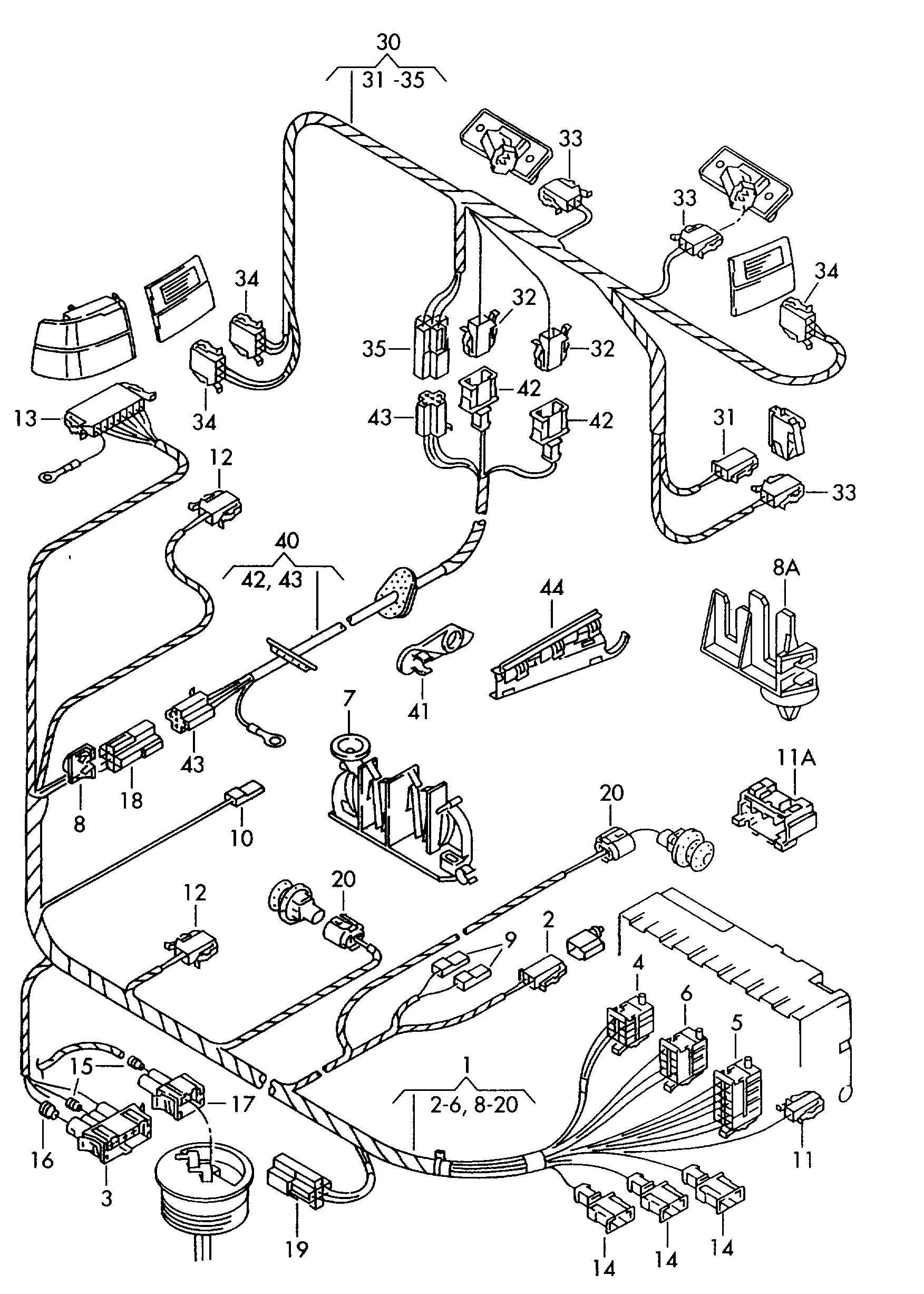 1995 volkswagen  vw  jetta adapter wiring harness harness
