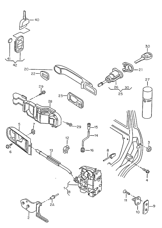 Volkswagen jetta door handle outer door latch interior release front for Vw jetta interior replacement parts