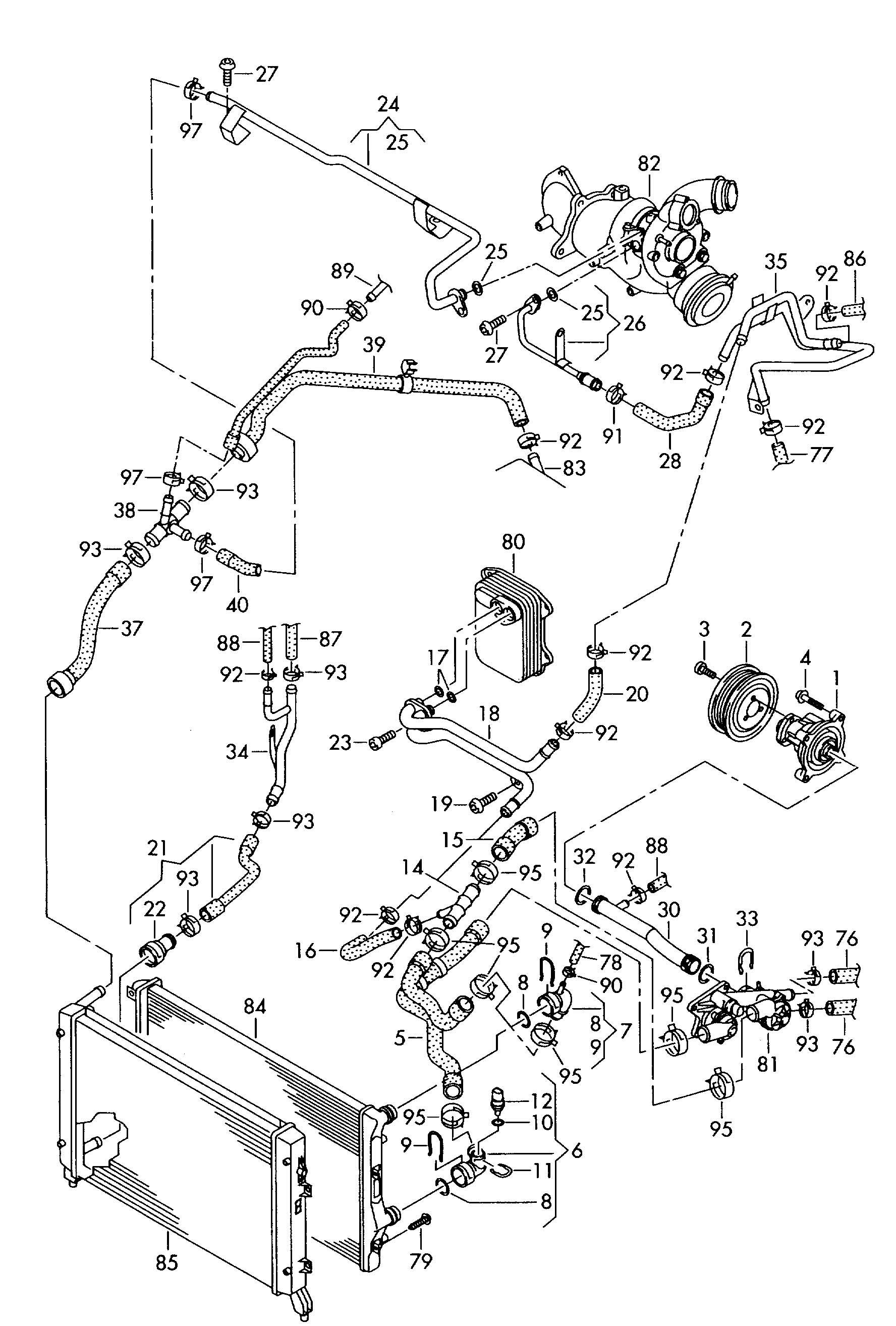 Water pump water cooling 1.4ltr. Golf/R32/GTI/Rabbit (D / GO): CAXA; 4  #3B3B3B