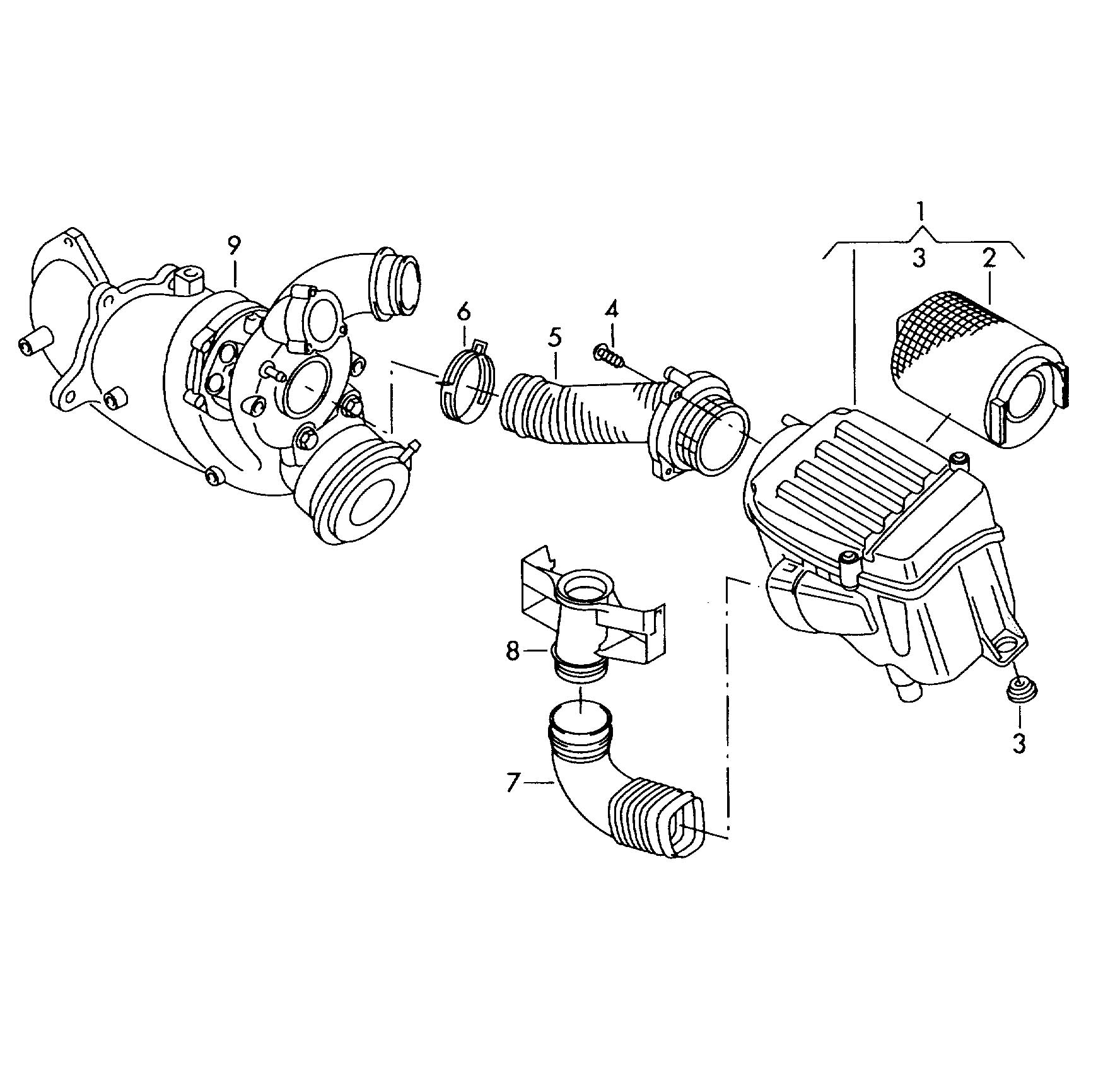 2012 volkswagen jetta air cleaner with connecting parts 1